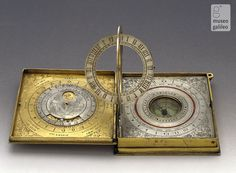 """design-is-fine: """" Astronomical compendium, late century. Museo Galileo """" There are three compartments: In the first is an astrolabe and a lunar calendar. Society Of Jesus, Lunar Phase, Sundial, Victoria And Albert Museum, Tumblr, Stargazing, Science And Technology, Science Space, 16th Century"""
