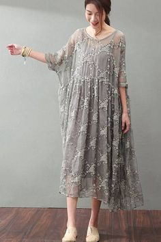 Lace Plus Size Women Dresses Maxi Clothes in Gray Q9881 fe8c4d2b4d71