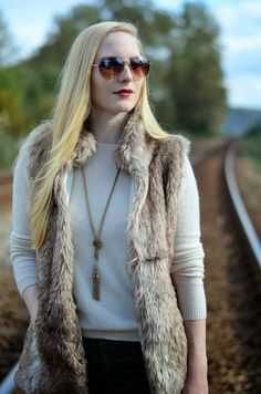 Look of the Week: Fall & winter fashion staple, the faux fur vest. seduction vest #fashionblogger @oliveandpiper  necklaces #outfit neiman marcus sweater #fashion on Vancouver Vogue blog