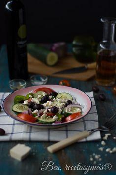 Ensalada griega clásica Tacos, Food Porn, Mexican, Ethnic Recipes, Gluten Free Recipes, Salads, Greek Salad, Celiac, Greek