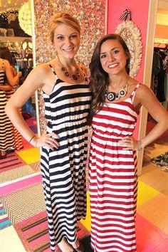 Navy and White Stripe Maxi Dress