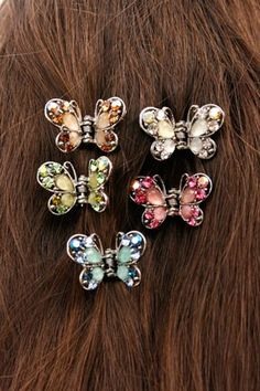 Bead & Rhinestone Butterfly Hair Clips from Butterfly Buzz.