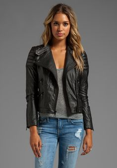 BLACK ORCHID Leather Moto Jacket in Black
