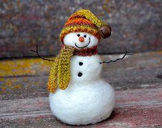 Snowmen-  handmade Needle Felted wool Snowman - Christmas Decor - 291