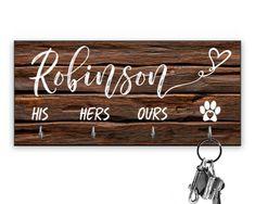 Personalized Key Ring Holder - Custom Key Holder For Wall - Personalized Key Hanger -Couples Key Hanger- Housewarming Gift - Leash Holder Dog Lover Gifts, Dog Gifts, Gift For Lover, Wall Mounted Key Holder, Wall Key Holder, New Home Gifts, Gifts For Family, Newlywed Gifts, Key Rings