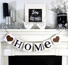 HOME Sign / Garland / Banner / Photo Prop / Fireplace Decoration / Wall Hanging / House Warming Gift- You Choose the Colors. $11.75, via Etsy.