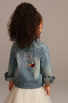 "The youngest member of the bridal party will love flaunting her title in her ""Little Miss Flower Girl"" floral embroidered denim jacket. fully lined Dry clean Imported Jean Jacket Styles, Dress With Jean Jacket, Girls Denim Jacket, Jean Jacket For Girls, Jean Jacket Design, Blue Jean Jacket, Fall Flower Girl, Flower Girl Gifts, Flower Girl Dresses"