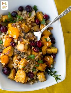 Butternut Squash, Cranberry, Maple Tempeh Holiday Brown Rice Bowl