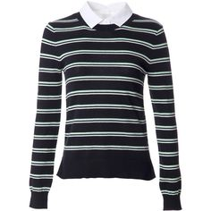 Veronica Beard Striped Shirt Sweater (26.710 RUB) ❤ liked on Polyvore featuring tops, sweaters, black, crewneck sweater, black button up shirt, cotton sweater, black striped shirt и black crewneck sweater