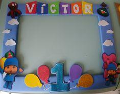 Photocall Pocoyo 1 Year Old Birthday Party, Cars Birthday Parties, 1st Boy Birthday, Party Frame, Thing 1, Birthday Decorations, First Birthdays, Beauty Room, Ideas Para
