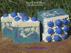 Blissful Blueberry Soap Bars by SweetSoftSkin on Etsy