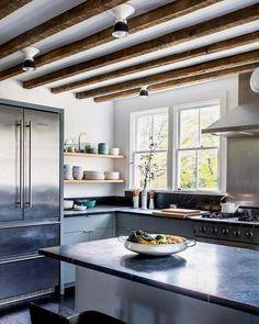 Original beams plus our Hannah sconces equals farmhouse kitchen perfection. Photo by via Modern Farmhouse Kitchens, Farmhouse Style Kitchen, Old Kitchen, Rustic Kitchen, Cool Kitchens, Kitchen Decor, Kitchen Ideas, Kitchen Designs, Kitchen Interior