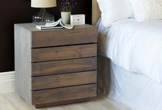 Handcrafted of reclaimed alder, this nightstand is a sustainable as well as stylish choice. The faux drawer fronts actually open up to reveal two sizable storage shelves. Handcrafted in the USA. Furniture Update, Modern Home Furniture, Bedroom Furniture, Storage Shelves, Storage Spaces, Wood Stain Colors, Bedroom Retreat, Reclaimed Wood Furniture, Grey Wash