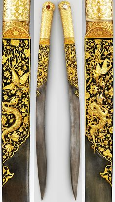 Ottoman yataghan from the Court of Suleyman the Magnificent, 16th c, workshop of Ahmed Tekelü (possibly Iranian, active Istanbul, ca. 1520–30), steel, walrus ivory, gold, silver, rubies, turquoise, pearls, gold incrustation on the blade depicts combat between a dragon and a phoenix, gold-inlaid cloud bands the ivory grips, one of the earliest known yatagans, L. 23 3/8 in. (59.3 cm); blade L. 18 3/8 in. (46.66 cm), Met Museum. Download: https://app.box.com/s/ymgx65d2g6bpgpd3wbow