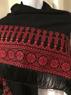 Beautiful black Shawl / puncho / poncho with detailed red Palestinian cross stitch / embroidery. The embroidery on this shawl is machine stitched Please contact me for more details and shipping options Cross Stitch Geometric, Cross Stitch Art, Cross Stitch Designs, Cross Stitching, Cross Stitch Embroidery, Embroidery Patterns, Hand Embroidery, Cross Stitch Patterns, Polish Embroidery
