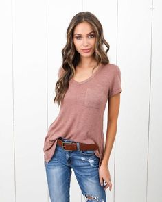 Melrose V-Neck Pocket Tee - Rosy Brown