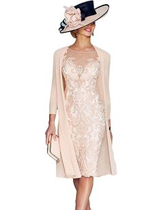 Dressvip Hellrosa Spitze 3/4 Ärmel knielangen formale Braut Mutter Kleider mit langer Chiffon Jacke (40, Rosa): Amazon.de: Bekleidung