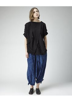 Printed Sarouel Pant by Yohji Yamamoto.  Classic sarouel pant with exaggerated drop crotch, drawstring ankles & pockets in a lightweight printed cotton.    Sits at hips / Elastic & drawstring waist / Slant pockets at hips / Patch pockets at back / Exaggerated drop crotch / Drawstring ankles / Relaxed fit / Color: Navy / 100% Cotton   $1210 lagarconne