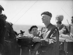 Lieutenant-General Gerald Bucknall, GOC XXX Corps, on the bridge of the destroyer HMS Beagle off GOLD Area, 6th June