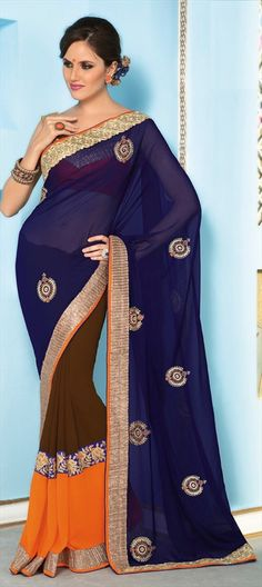 142205, Party Wear Sarees, Faux Georgette, Stone, Border, Thread, Sequence, Multicolor Color Family