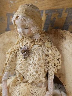 Angel Art Doll, Handmade and Hand Sculptured of Paper Clay, Fabric Body, Vintage Doilies
