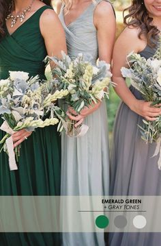 Emerald Green + Gray Tones // 5 Winter Wedding Color Palettes - www.theperfectpalette.com - Color Ideas for Weddings + Parties
