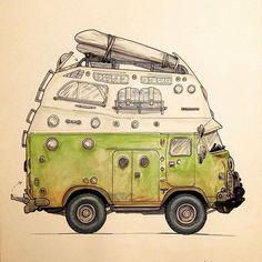Exhibitionists: Al Ortiz Camper Life, Truck Camper, Camper Van, Motorhome, Raiders, Mercedes Camper, Vw T3 Syncro, Bus Art, Vintage Mustang