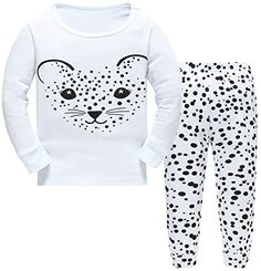Hugbug Girls Funny Leopard Cotton Long Sleeve Toddler Pajamas for Kid Girls 7T * Click for Special Deals