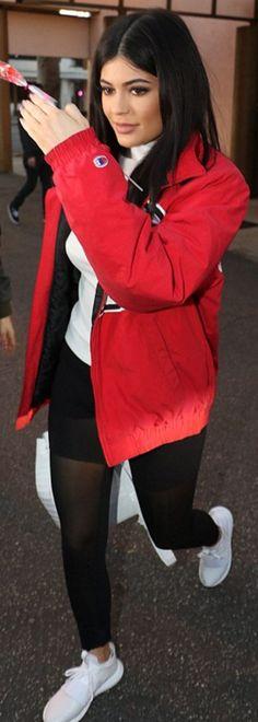 Kylie Jenner: Coat – Champion  Purse – Nancy Gonzalez  Sunglasses – Sorella  Pants – Alo  Shoes – Adidas