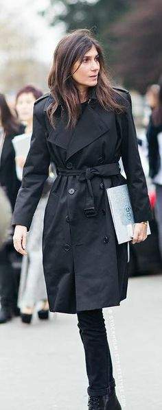 black trench care of Emmanuelle Alt