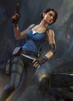 Jill Valentine - Created by Nikita Volobuev Resident Evil Video Game, Resident Evil Girl, Resident Evil 3 Remake, Jill Valentine, Cyberpunk, Jill Sandwich, Valentine Resident Evil, Evil Art, Mileena
