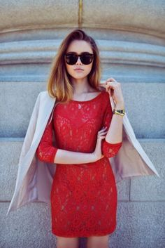 "justthedesign: "" Kristina Bazan is wearing a red lace dress from Guess, blazer from Minusey and sunglasses from Céline "" Dress Skirt, Lace Dress, Dress Up, Prom Dress, Style Personnel, Red Lace, Retro, Cool Hairstyles, Ideias Fashion"