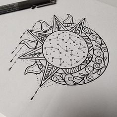 the sun and the moon,sketch, outline, sketching,design                                                                                                                                                                                 Más