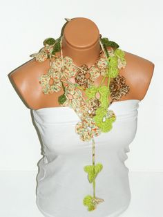 Crochet colorful  Flower Lariat Scarf. Fashion Flower Scarves, Necklace... green lariat scarf for spring. $25.00, via Etsy.