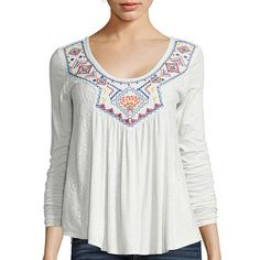 Arizona Long-Sleeve Embroidered Lace Knit Top - JCPenney