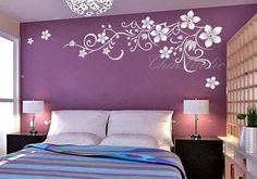 Description: This pretty flower vine decal measure 26 high by 71 wide, great for over a bed or TV background or wherever you have some extra space Bedroom Door Design, Bedroom Wall Designs, Home Room Design, Drawing Room Wall Colour, Home Colour Design, Wall Stickers Home Decor, Wall Decals, Wall Painting Living Room, Creative Wall Decor