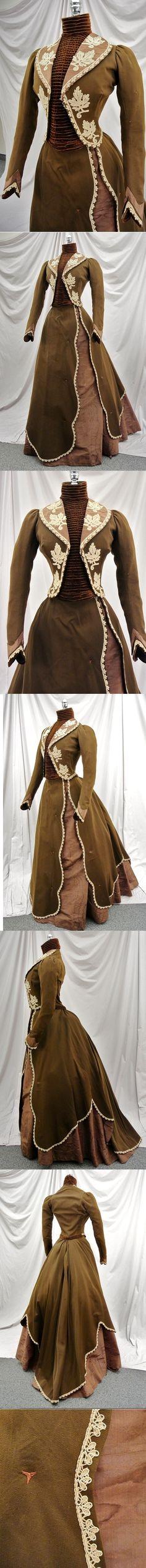 Victorian 1870's 1880's Brown Watered Silk, Wool, & Velvet Bustle Dress w/Lace