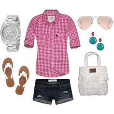 My Version: Navy Blue & White Gingham Collared Shirt, White Shorts, White Flower Sandals.