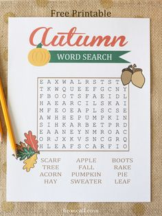 Get the kids ready for Autumn with this fun, free printable Autumn word search! Perfect for kids ages 7 -11.