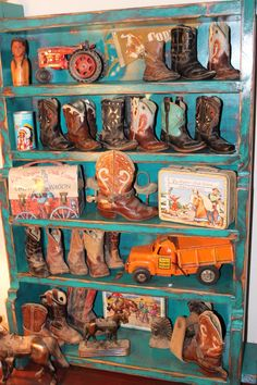 Little Boots.Collection of vintage children's inlay cowboy boots, western lunchboxes, toys and horses. 1940's - 1950's era.