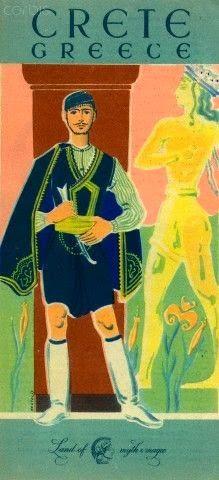 Crete 1956 vintage travel poster