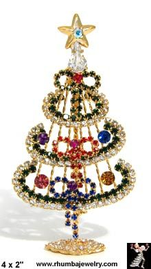 Christmas Tree Pin: Free Standing Christmas Tree Pin Bows - Antique & Collectible Exchange