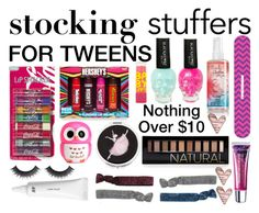 """""""Beauty Stocking Stuffers For Tweens"""" by weirdos0627 ❤ liked on Polyvore featuring beauty, Aéropostale, H&M, Tweezerman, Maybelline, Forever 21 and Monki"""