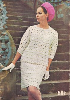 Crochet Suit Pattern INSTANT DOWNLOAD PDF 1970s Skirt and Jacket Digital File Crochet Pattern