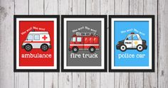 Rescue firetruck, police car ambulance boys wall art The background on firetruck could be made green to match wall color $25 for 3 8x10