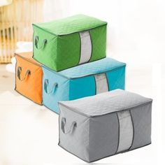 High Capacity Clothes Quilts Storage Bags Folding Organizer Bags Bamboo Portable Storage Container