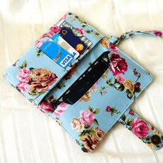 IPHONE WALLET CASE Vintage Flower iPhone Case,Card Holder,Purse,Fabric iPhone Sleeve,Cell Phone Wallet,Smart Phone Wallet,iPhone Pouch,Bag