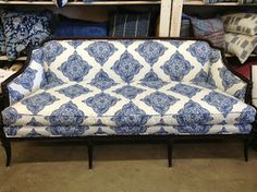 Sofa done in fabric by John Robshaw called Duralee