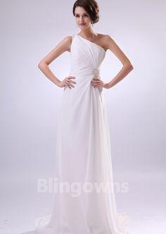 One Shoulder Ruched Sleeveless A-line Sweep Zipper Chiffon White Wedding Dresses