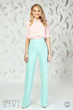 Pantaloni drepți mint cu talie înaltă Pretty Girls, Girl Fashion, Jumpsuit, Spring Summer, Casual, Dresses, Elegant, Women's Work Fashion, Overalls